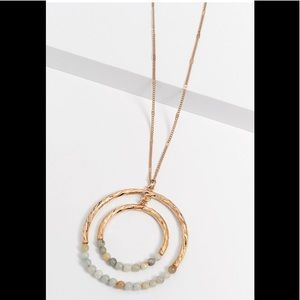 Maurices Beaded Double Circle Pendant Necklace
